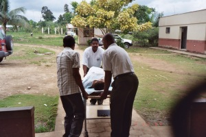 Leaving the clinic building going to the post-op building