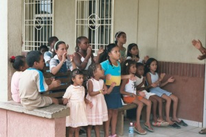 Kids learning a song