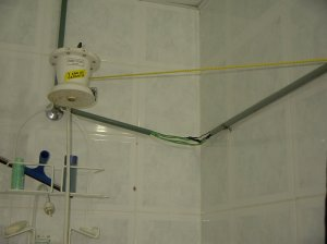 The showerhead, wires and all