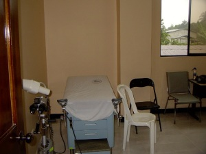 The exam table area.