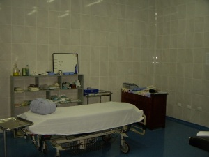 The OR is large enough for another table and Jane has a desk in the corner where she can write on the patient's chart.