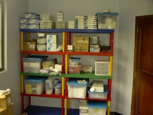 Across the hall from the OR is a large room that is for storage of more supplies.