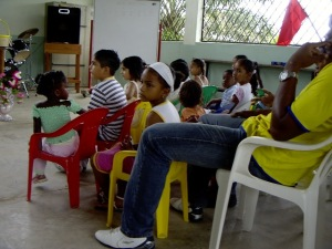 Some of the children attending church.