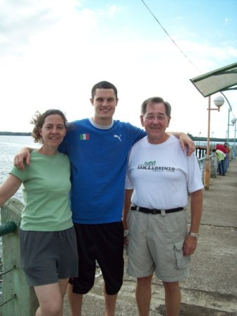 Steven, Jane and me on the pier in San Lorenzo