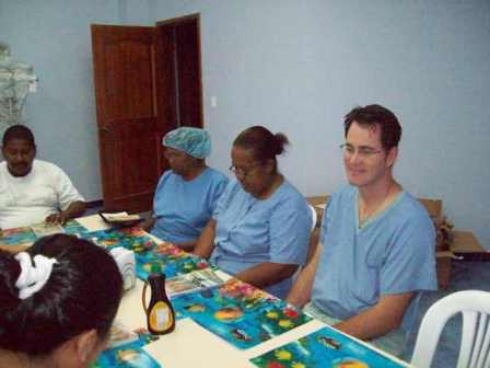 Paul Barton, our anesthesiologist, sitting next to Angelita and Maria Luisa.