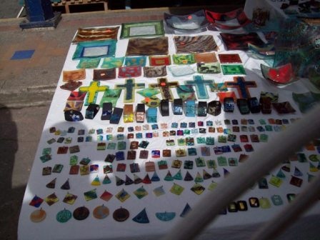 Lots of necklace material and other colored glass items