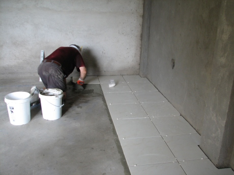 Howard laying tile
