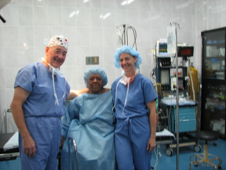 Jane and I with D.Z. in the OR before being prepped for surgery