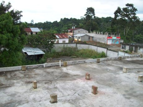 Looking from top of clinic building down on the roof of the addition.